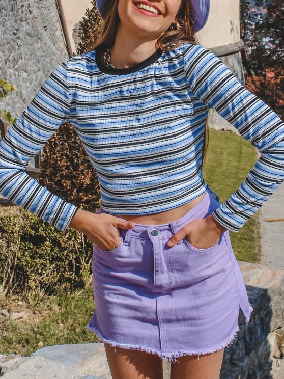 shops ZAFUL Striped Ribbed Long Sleeve T-shirt - BLUE L