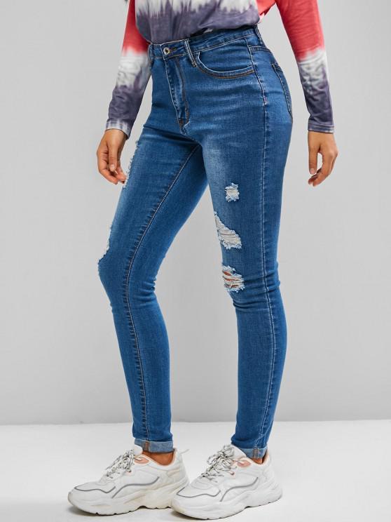 Jeans Ajustado Rasgado - Azul M