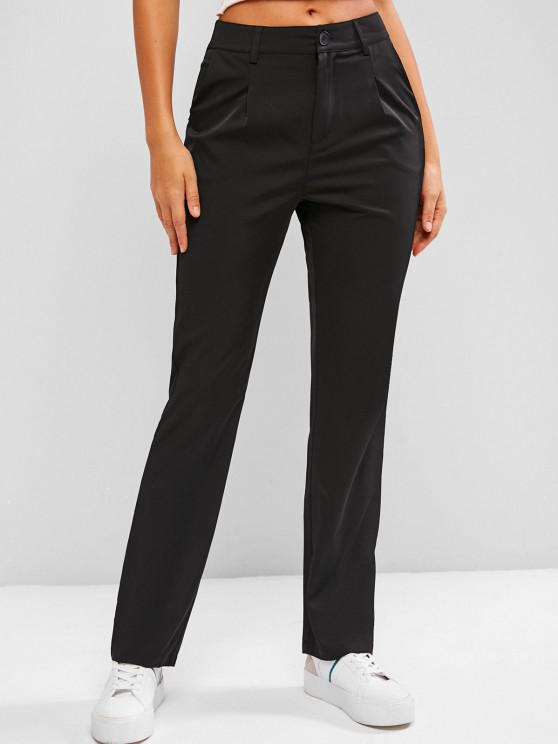buy Fold Pleated Tailored Pants - BLACK S