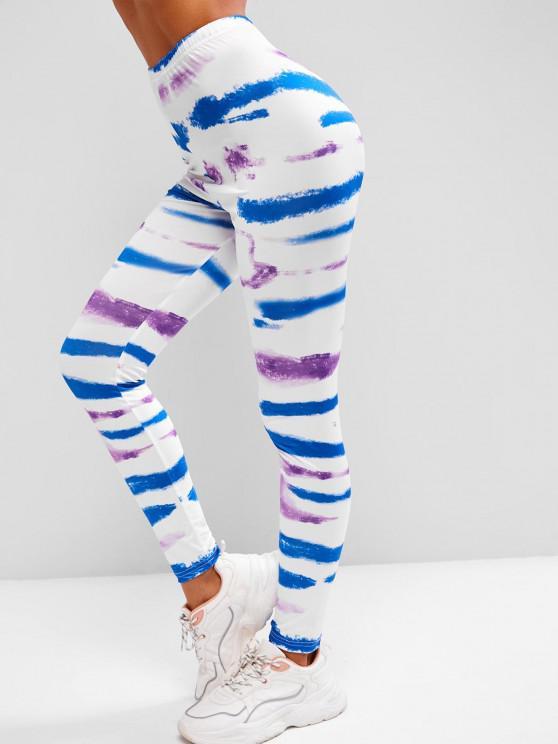 fancy High Waisted Pull On Tie Dye Leggings - WHITE L