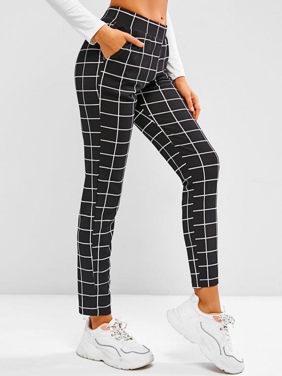 online Grid Pull On Tapered Pants - BLACK M
