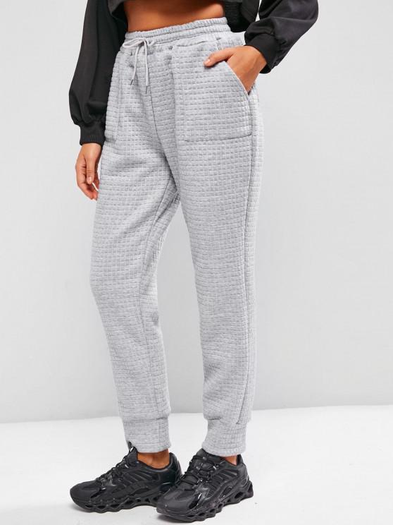 hot ZAFUL Quilted Pocket Drawstring Sweatpants - LIGHT GRAY M