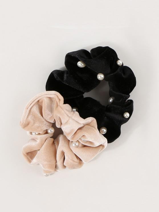 women 2Pcs Faux Pearl Velour Elastic Scrunchie Set - MULTI-A