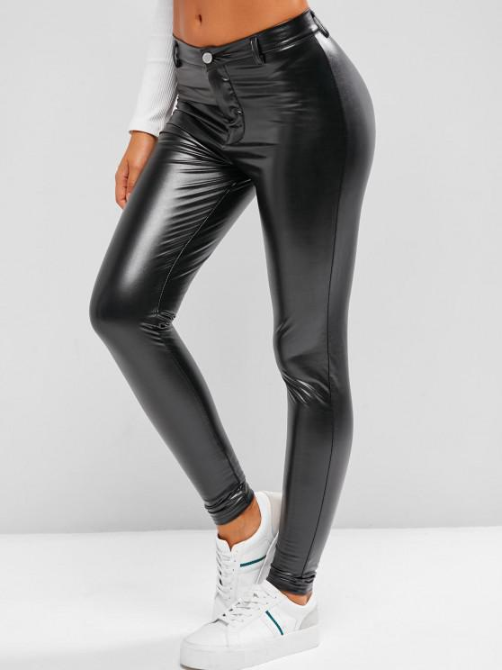 best Fleece Lined Faux Leather Skinny Pants - BLACK M