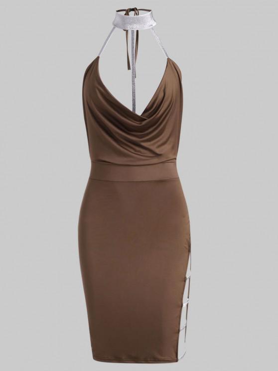 women's Ladder Cutout Metallic Thread Draped Bodycon Dress - LIGHT COFFEE M