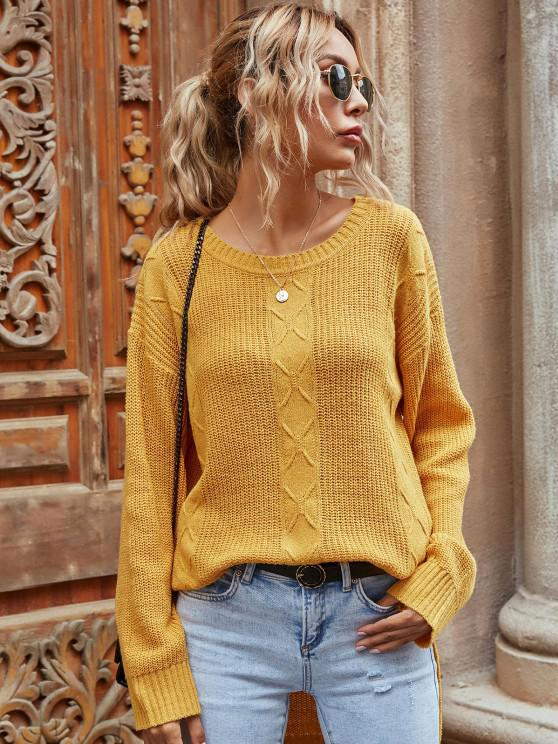 Drop Shoulder High Low Slit Tunic Sweater - الأصفر M