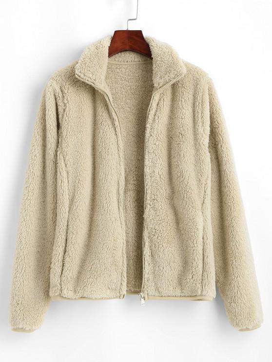 trendy Zip Front Slip Pockets Fluffy Jacket - LIGHT COFFEE M