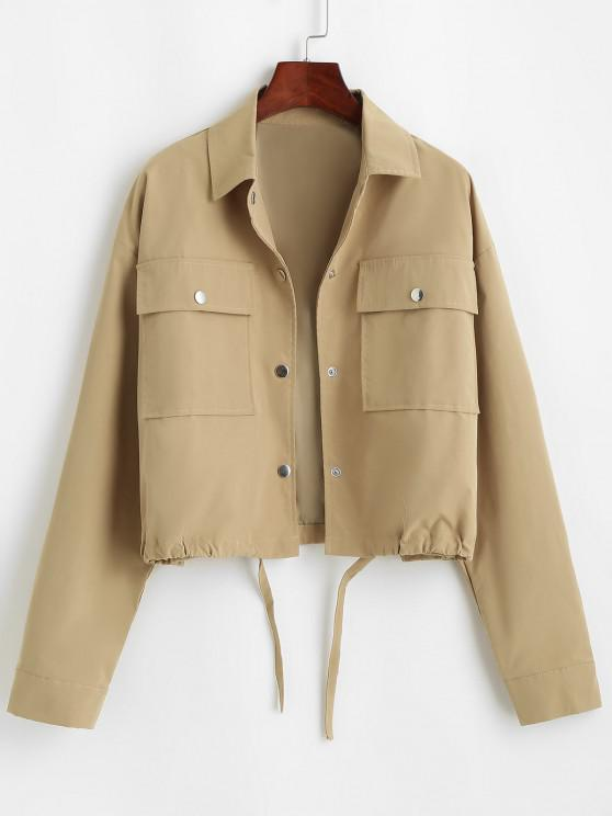best Flap Pocket Front Snap Button Drawstring Hem Jacket - COFFEE S
