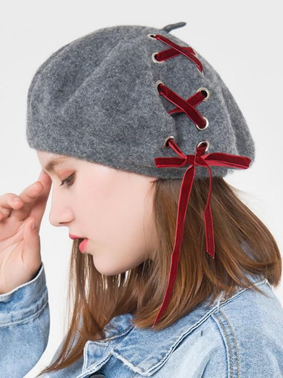 outfit Ribbon Lace Up Beret Hat - DARK GRAY