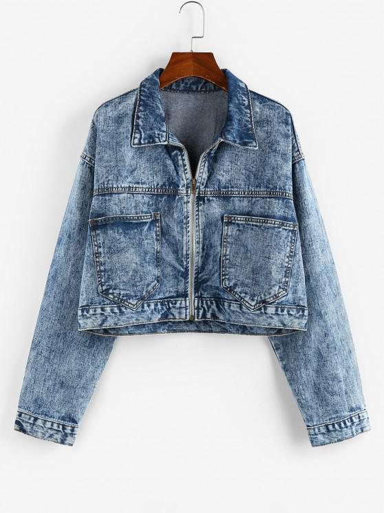 chic Pockets Zipper Drop Shoulder Denim Jacket - BLUE L