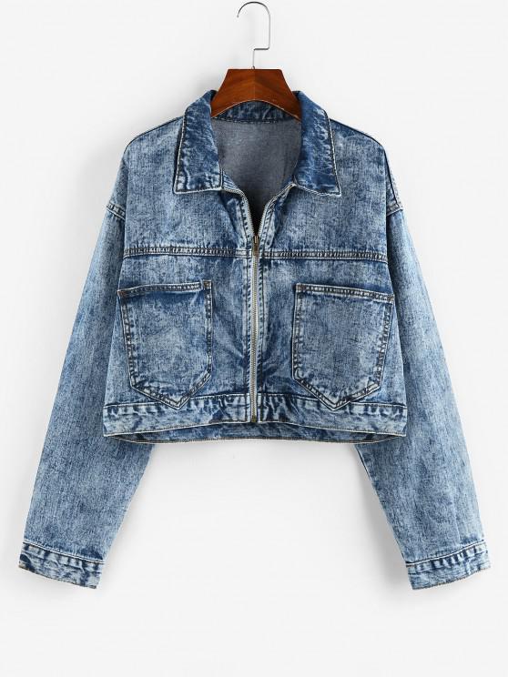 Pockets Zipper Drop Shoulder Denim Jacket - أزرق S
