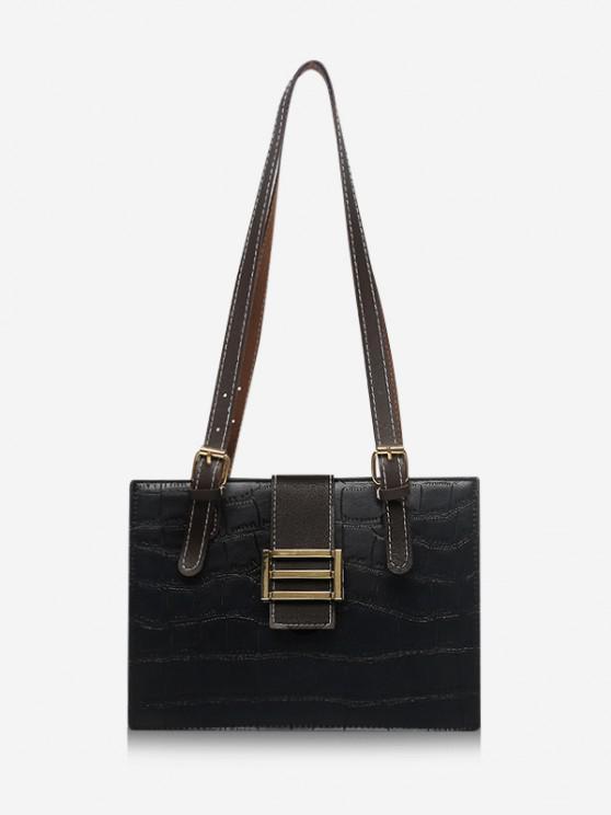 ladies Textured Colorblock Shoulder Bag - BLACK