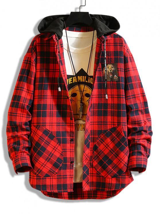 Leopard Print Plaid Colorblock Hooded Shirt Jacket - أحمر XS
