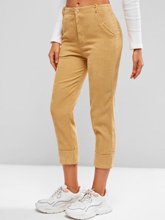 Cuffed Hem Tapered Corduroy Pants - اصفر غامق L