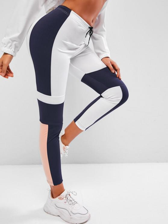 trendy Drawstring Mid Rise Colorblock Leggings - BLUE L