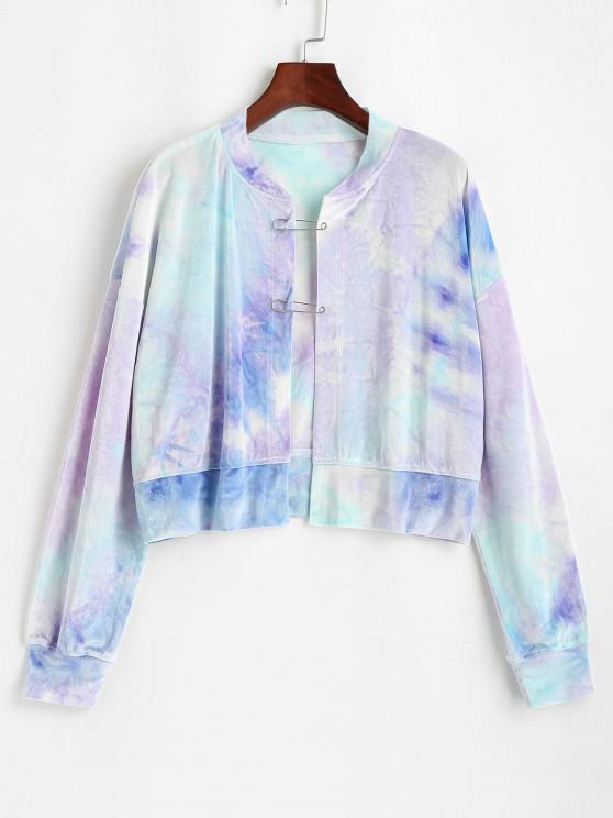 trendy Safety Pins Velvet Tie Dye Sweatshirt - LIGHT BLUE M