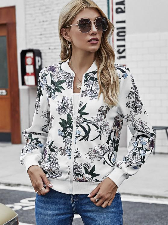 affordable Zip Up Ribbed Trim Floral Jacket - WHITE S