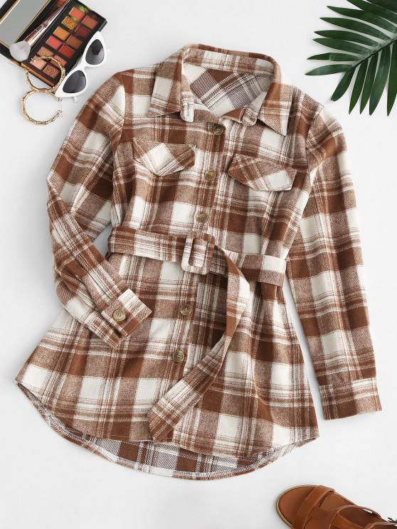 ladies Flap Detail Plaid Belted Mini Dress - COFFEE L