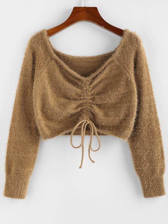 fashion ZAFUL Fuzzy Cinched Raglan Sleeve Sweater - COFFEE S