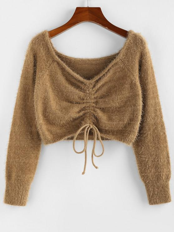 outfit ZAFUL Fuzzy Cinched Raglan Sleeve Sweater - COFFEE M