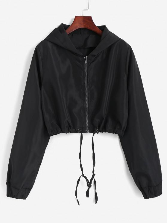 Hooded Cropped Windbreaker Jacket - أسود M