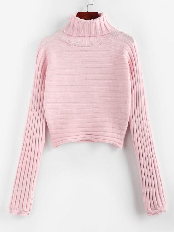ladies ZAFUL Ribbed Turtleneck Crop Jumper Sweater - LIGHT PINK M