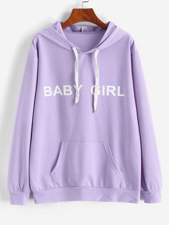 lady ZAFUL Front Pocket BABY GIRL Oversized Hoodie - LIGHT PURPLE XL