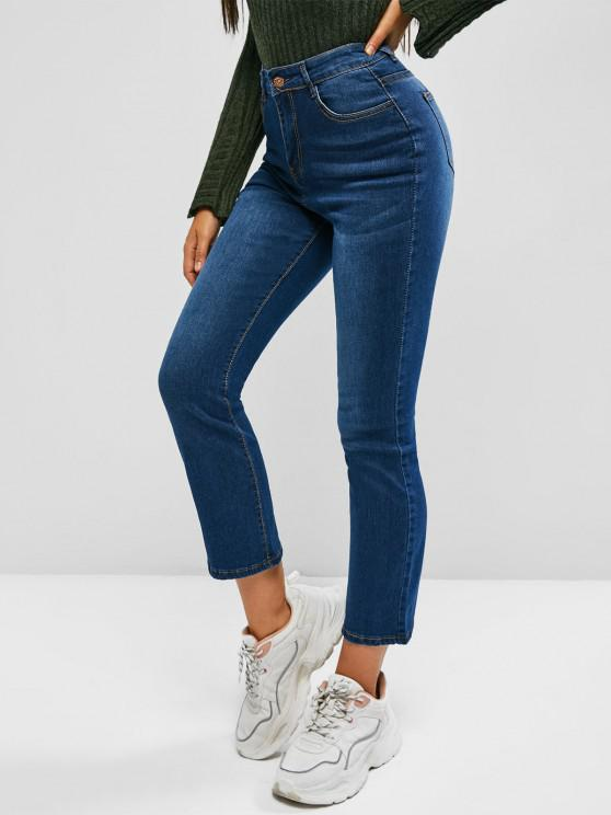 women Cat Whisker High Waisted Skinny Jeans - BLUE S