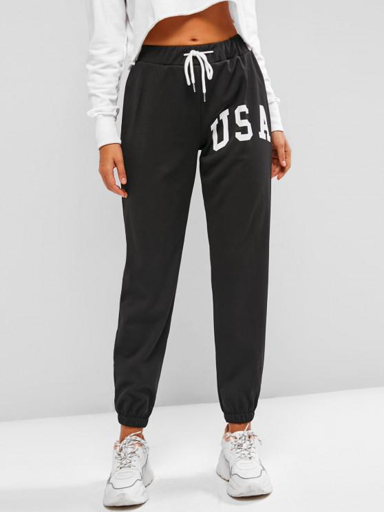women Drawstring Graphic Fleece Lined Jogger Pants - BLACK M