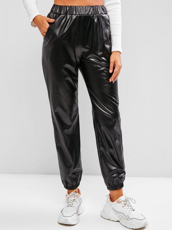 ladies Pockets Faux Leather High Waisted Pants - BLACK M
