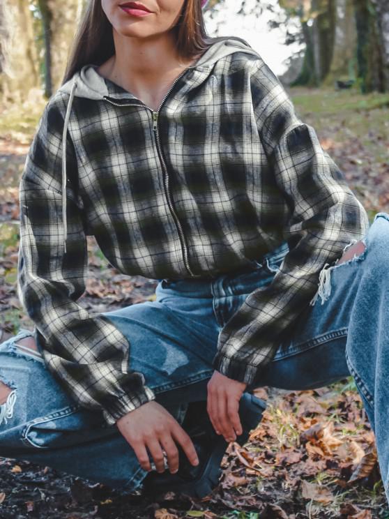 Plaid Hooded Zip Drop Shoulder Jacket - أخضر M