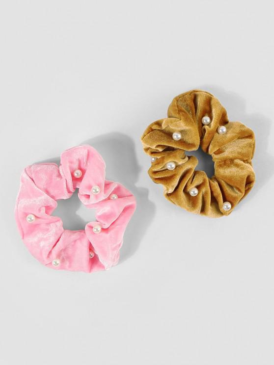 lady 2Pcs Velour Artificial Pearl Scrunchies Set - MULTI-A
