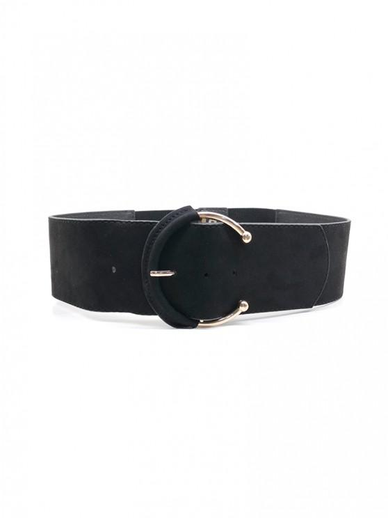 ladies C Shape Buckle Elastic Wide Belt - BLACK