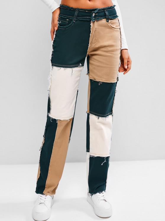 chic Mid Rise Frayed Colorblock Straight Jeans - LIGHT COFFEE S