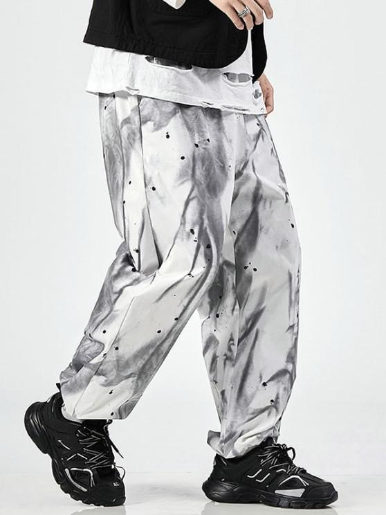 Tie Dye Paint Splatter Print Elastic Waist Pants - أبيض XS
