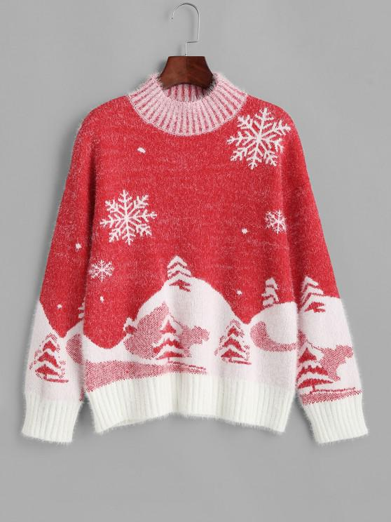 lady Mock Neck Christmas Snowflake Tree Fuzzy Sweater - RED ONE SIZE