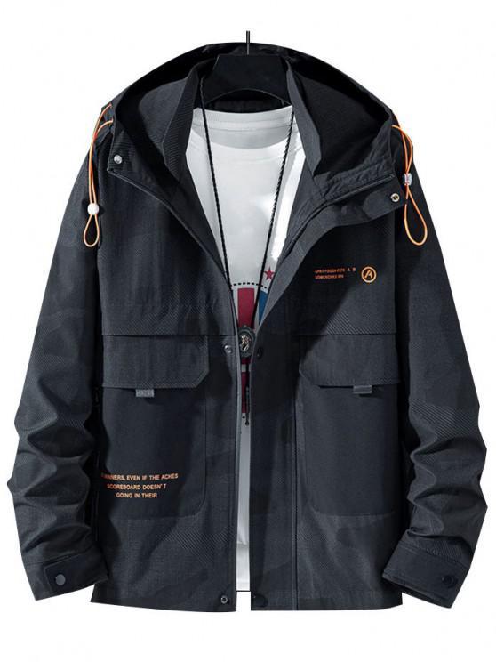 hot Camouflage Slogan Print Flap Pocket Hooded Jacket - BLACK XS