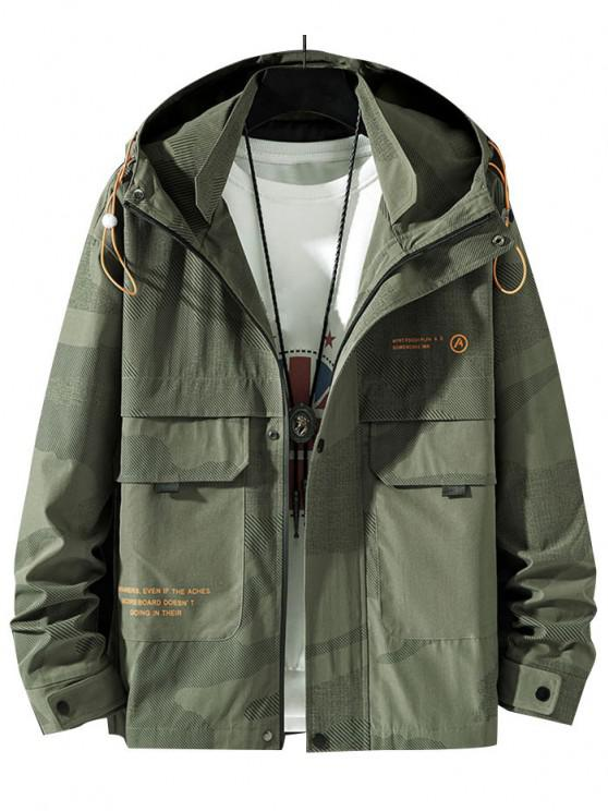 ladies Camouflage Slogan Print Flap Pocket Hooded Jacket - ARMY GREEN S