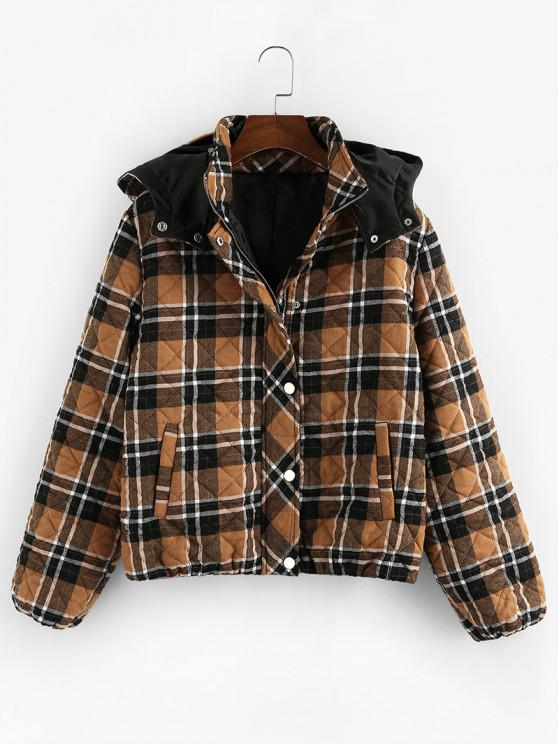 fashion ZAFUL Quilted Plaid Hooded Pocket Coat - COFFEE S