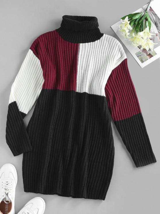 lady ZAFUL Colorblock Ribbed Turtleneck Bodycon Sweater Dress - BLACK L