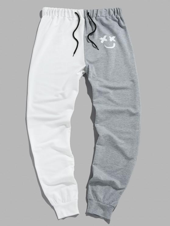 buy ZAFUL Two Tone Smiling Face Drawstring Pants - MULTI-C XL
