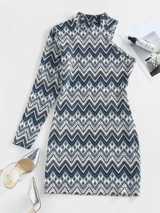 ZAFUL Zig Zag Geo One Sleeve Mock Neck Bodycon Dress - متعدد M