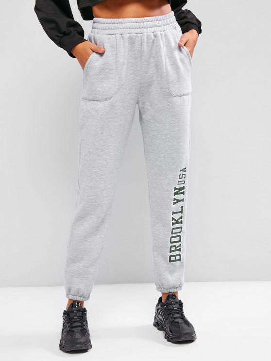 ladies Pockets Graphic Fleece Lined Jogger Pants - LIGHT GRAY S