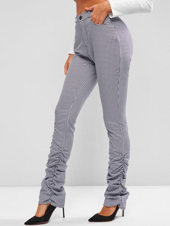 ladies Gathered Side Houndstooth Stacked Pants - BLACK L