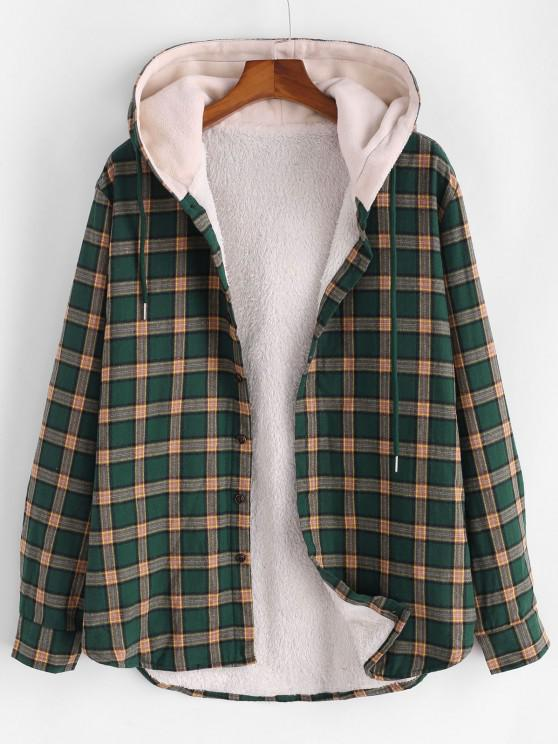 fancy Plaid Faux Fur Fluffy Hooded Shirt Jacket - DEEP GREEN L