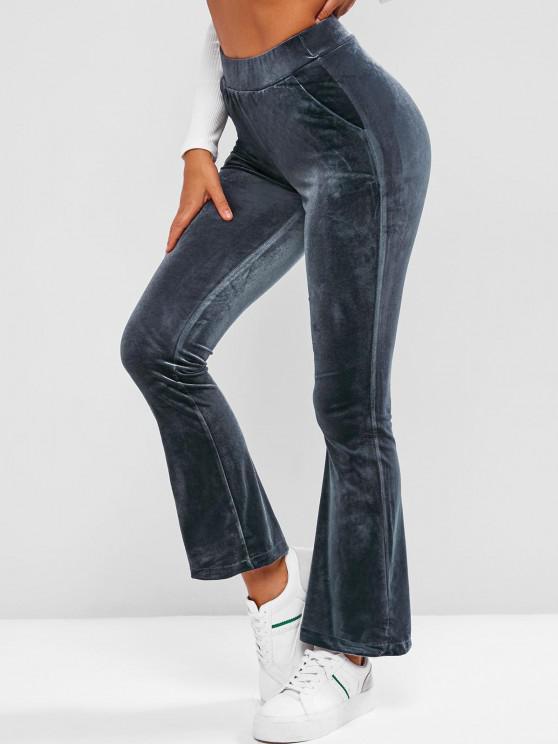 fancy Pockets Velvet Flare High Waisted Pants - DEEP BLUE XL