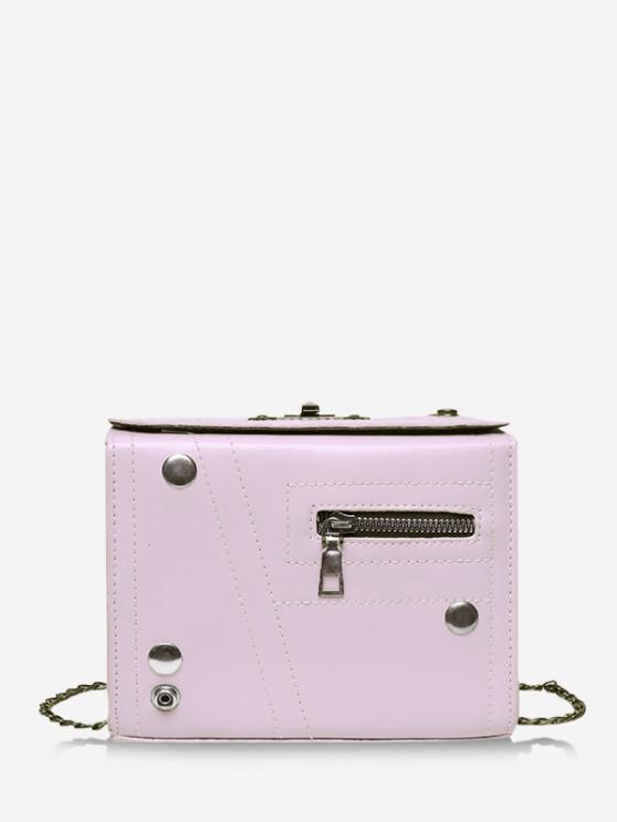 lady Rectangle Chain Crossbody Bag - LIGHT PURPLE