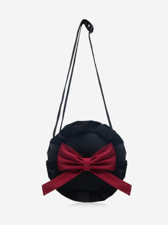 outfits Bowknot Round Ruffle Canvas Crossbody Bag - BURNT PINK