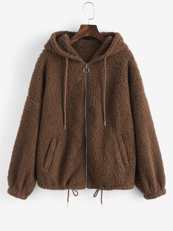 best ZAFUL Drop Shoulder Drawstring Teddy Coat - COFFEE M