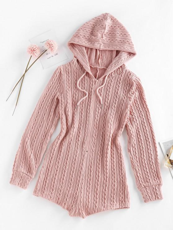 best ZAFUL Half Zipper Hooded Cable Knit Unitard Romper - PINK S